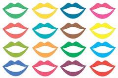 Labios coloreados fijados ilustración del vector