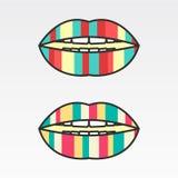 Labios coloridos del logotipo, rayas verticales Fotografía de archivo