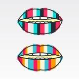 Labios coloridos del logotipo, rayas verticales, planas Foto de archivo
