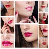 Labios con el lápiz labial rojo y rosado en ellos foto de archivo