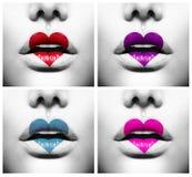 Labios con la pintura colorida de la forma del corazón stock de ilustración