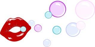Labios con las burbujas Fotos de archivo libres de regalías