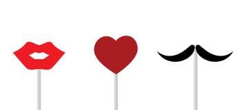 Labios, corazón, bigote Imágenes de archivo libres de regalías