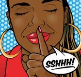 Labios de Art African American Girl Sshhh del estallido Fotografía de archivo
