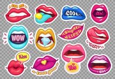Labios de la etiqueta engomada La muchacha provocativa articula etiquetas engomadas sensuales de la historieta Remiendos de la mo libre illustration