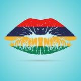 Labios de Mauritius Flag Lipstick On The aislados en un fondo blanco Ilustración del vector Fotografía de archivo