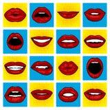 Labios del arte pop del vector Imágenes de archivo libres de regalías