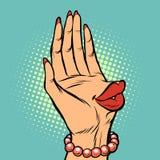Labios del beso de la palma de la mano femeninos ilustración del vector