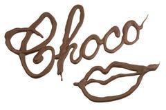 Labios del chocolate Imagen de archivo libre de regalías