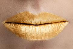 Labios del oro Imágenes de archivo libres de regalías