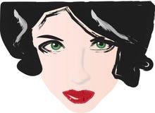 Labios del rojo de los ojos verdes stock de ilustración
