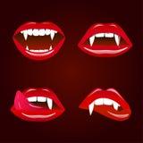 Labios del vampiro, feliz Halloween Fotos de archivo