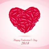 Labios felices del rojo del día de tarjetas del día de San Valentín stock de ilustración