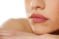 Labios femeninos Fotos de archivo libres de regalías