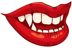 Labios femeninos del vampiro Fotos de archivo