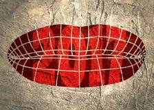 Labios femeninos poligonales del marco del alambre Fotografía de archivo libre de regalías