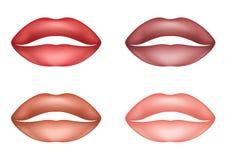 Labios femeninos sensuales de los labios rosados suaves atractivos determinados stock de ilustración