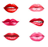 Labios fijados aislados en el fondo blanco Elemento del diseño Labios rojos Fondo de los labios Anuncio del lápiz labial Labios s fotografía de archivo libre de regalías