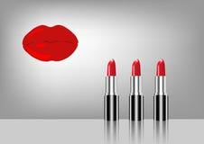 Labios logotipo, sistema de lápiz labial rojo, belleza del maquillaje Fotografía de archivo libre de regalías