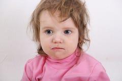 Labios manchados bebé en leche Foto de archivo libre de regalías
