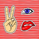 Labios, ojo, mano Etiqueta engomada retra, sistema del remiendo ilustración del vector