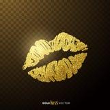 Labios que se besan del oro Fotos de archivo