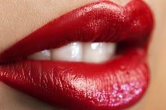 Labios rojos clásicos Imagen de archivo libre de regalías