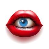 Labios rojos con el ojo Imagen de archivo libre de regalías