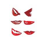 Labios rojos emocionales Imagen de archivo
