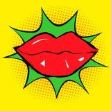 Labios rojos en arte pop ilustración del vector