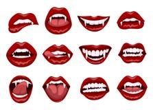Labios rojos femeninos del vampiro con los colmillos de la mordedura stock de ilustración