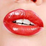 Labios rojos hermosos Fotografía de archivo