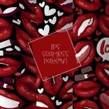 Labios rojos hermosos de la historieta incons?til del modelo del vector del labio en besarse atractivo de la boca de la barra de  libre illustration