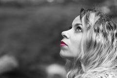 Labios rosados de la mujer Imagenes de archivo