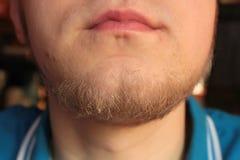 Labios y barbilla el hombre joven Fotografía de archivo
