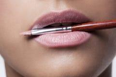 Labios y cepillo rosados del maquillaje Imagenes de archivo