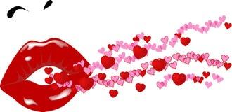 Labios y corazones Foto de archivo
