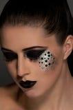 Labios y ojos negros de la moda Foto de archivo libre de regalías