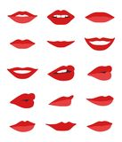 Labios y sistema del vector de la boca Imagen de archivo libre de regalías
