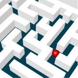 Labirinth con una sfera rossa Immagine Stock Libera da Diritti