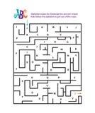 Labirinti di alfabeto per l'asilo e pre la scuola Fotografia Stock Libera da Diritti
