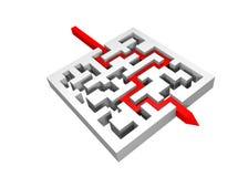 labirinto 3d con una giusta riga rossa Fotografia Stock Libera da Diritti