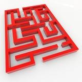 Labirinto 3D vermelho. Foto de Stock Royalty Free