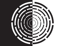 Labirinto circolare in bianco e nero Immagine Stock