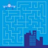 Labirinto com avião - jogo para crianças - vetor Foto de Stock