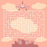 Labirinto com avião - jogo para crianças - vetor Fotografia de Stock