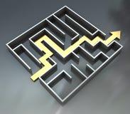 Labirinto com rota da seta ilustração royalty free