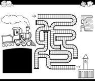 Labirinto con la pagina locomotiva di coloritura Fotografie Stock
