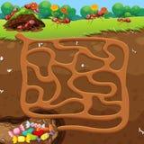 Labirinto con le formiche ed il concetto della caramella Immagine Stock Libera da Diritti