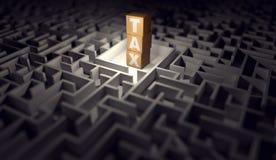 Labirinto con un mucchio dei blocchi di legno con le lettere di un'IMPOSTA L'impossible risolvere labirinto del concetto di regol illustrazione di stock